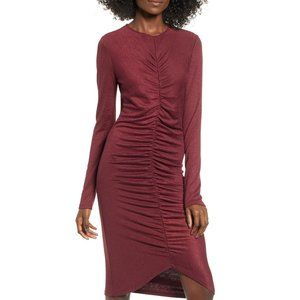 NWT Leith Ruched Front Red Tannin Bodycon Dress
